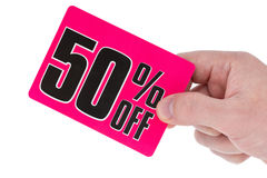 Hand with a sale tag Royalty Free Stock Photo