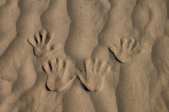 Hand in Sand royalty free stock image
