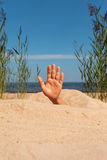 Hand in sand. Royalty Free Stock Photos