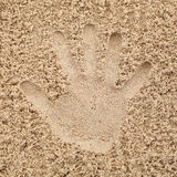 Hand in sand on beach.  Royalty Free Stock Photography