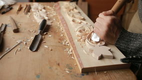 Hand sanding wooden decorative items, decorative elements, stock video footage