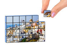 Hand and Santorini (my photo) puzzle Stock Photography