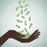 Hand save the falling money Royalty Free Stock Images