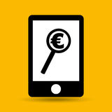 Hand save money euro search icon. Vector illustration eps 10 vector illustration