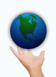 Hand of Save World on white background Stock Photos