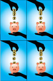 A Hand Saving Different currency coins into a pigg. Hand silhouette saving or adding a set of different currency coins (US Dollars, British Pounds, Euro, Indian Stock Image