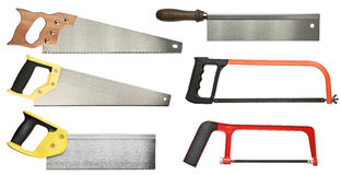 Hand saw. Set for wood and metal cutting Royalty Free Stock Photography