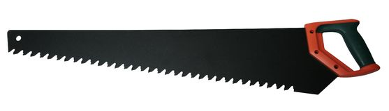 Hand saw with black and red handle isolated on white background royalty free stock photo