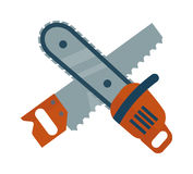 Hand saw and chainsaw flat vector isolated on white background. Wooden tools Royalty Free Stock Photography
