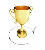 Hand saw cuts around trophy cup. On a white background Royalty Free Stock Image