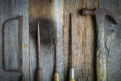 Hand Saw, Hammer and Screwdrivers Stock Photos