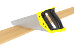 Hand Saw Tool and Wood Board Stock Image