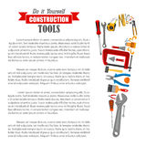 Hand saw with work tool poster for DIY design Royalty Free Stock Image