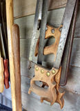 Hand Saws Hanging in a Toolshed Royalty Free Stock Photography