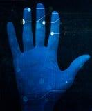Hand scan. On a dark blue background Stock Photos