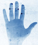 Hand scan. On a soft blue background Stock Photos