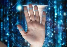 Hand scan with circle on the fingers. Raining of binary code Royalty Free Stock Images