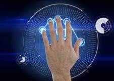 Hand scan with hand. blue background Stock Photos