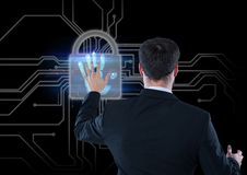 Hand scan with lock, business men opening that Royalty Free Stock Images
