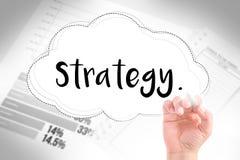 Hand schreiben Strategie Stockbild