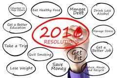 Hand schreibt Beschlüsse des neuen Jahres Lizenzfreies Stockfoto