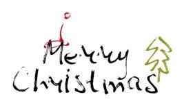 Hand schriftliche Aufschrift frohe Weihnachten Stockfotos