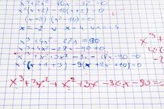 Hand schriftliche Matheberechnungen Lizenzfreies Stockfoto