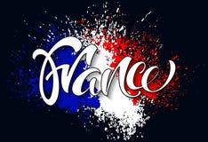 Hand schriftliches Frankreich Kalligraphischer Vektortext Flagge von Frankreich MA Lizenzfreies Stockfoto