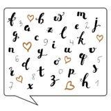 Hand schriftliches Kalligraphie-ABC und Zahlen lizenzfreie abbildung