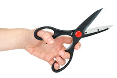 Hand with scissors Stock Photo