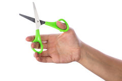Hand with scissors Stock Photos