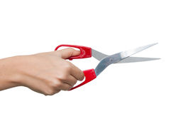 Hand with scissors Stock Images