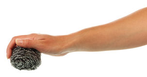 Hand with scourer. Isolated on white background Royalty Free Stock Photos