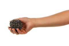 Hand with scourer isolated. On white background Royalty Free Stock Photo