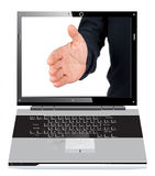 Hand in the screen. A hand out of laptop screen isolated on white vector illustration