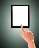 Hand and screen.  Royalty Free Stock Image