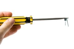 Hand with screwdriver Royalty Free Stock Photography