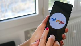 Hand scroll smartphone icons of travel planning apps Facebook Twitter Instagram Whatsapp Skype Askfm Tumblr Telegram stock video