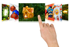 Hand scrolling christmas images Royalty Free Stock Photo