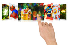 Hand scrolling christmas images Royalty Free Stock Photos