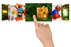 Hand scrolling christmas images Stock Images