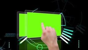Hand scrolling through futuristic interface stock video