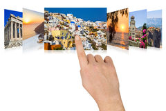 Hand scrolling Greece travel images Royalty Free Stock Image