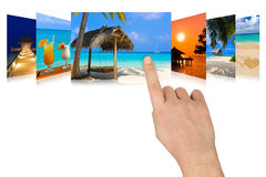 Hand scrolling summer beach images Royalty Free Stock Photography
