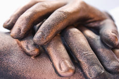 Hand Sculpture. Sculpture of three bronzed hand in a pile Stock Photo