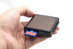 Hand with SD card & card reader Stock Images