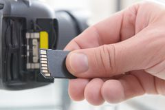 Hand with sd card Royalty Free Stock Image