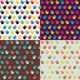 Hand in seamless pattern. Multicolor set Stock Photos