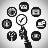 Hand search technology protection concept. Vector illustration eps 10 Stock Image
