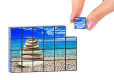 Hand and seascape (my photo) puzzle Royalty Free Stock Photos